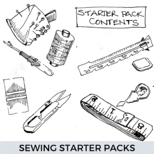 drawing of various sewing equipment